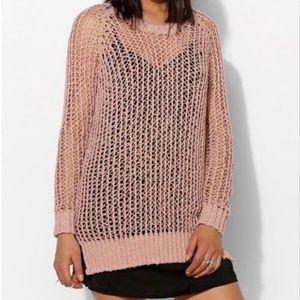 Silence + Noise Dusty Rose Crochet Sweater